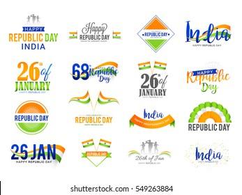 Republic Day Lettering Design set.