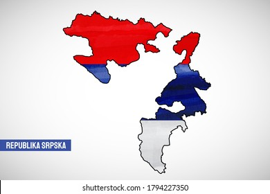Republic day of Republika Srpska country. Abstract outline country map with flag in watercolor style illustration