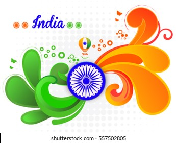 Republic Day wave Background with ashok chakra