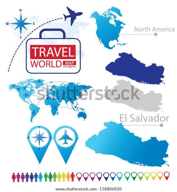 Republic El Salvador North America World Stock Vector ... on georgetown on world map, costa rica on world map, el salvador map, cuba on world map, tenochtitlan on world map, recife on world map, panama on world map, tegucigalpa on world map, cabinda on world map, bahamas on world map, altamira on world map, santiago on world map, port of spain on world map, la habana on world map, salvador brazil on world map, arenal volcano on world map, santo domingo on world map, monterey world map, sanaa on world map, conakry on world map,
