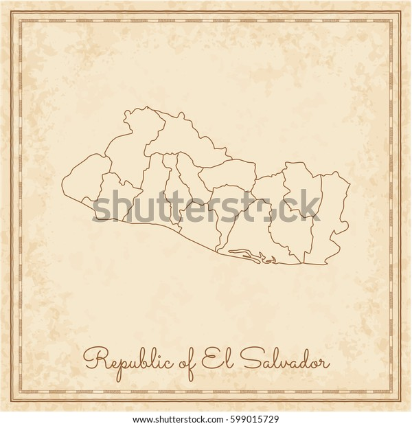 Republic of El Salvador region map: stilyzed old pirate parchment imitation. Detailed map of Republic of El Salvador regions. Vector illustration.