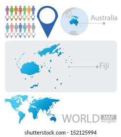 Republic of Fiji. Australia. World Map. vector Illustration.