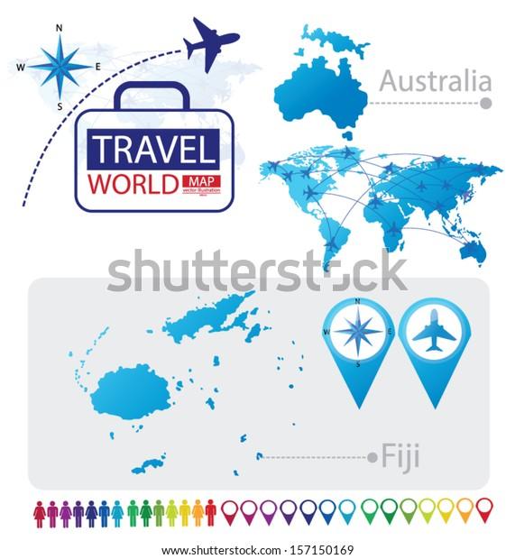 Republic Fiji Australia World Map Travel Stock Vector ...