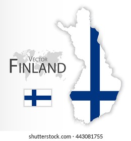 Republic of Finland ( flag and map ) ( transportation and tourism concept )