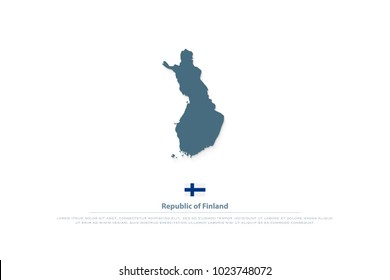Republic of Finland isolated map and official flag icons. vector Finnish territory illustration. Suomi geographic banner template. travel and business logo