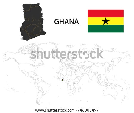 Ghana On A World Map.Republic Ghana Map On World Map Stock Vector Royalty Free