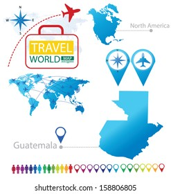 Republic of Guatemala. North america. World Map. Travel vector Illustration.