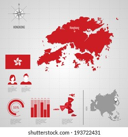 Republic singapore flag asia world map stock vector hd royalty free republic of hongkong flag asia world map travel vector illustration gumiabroncs Choice Image