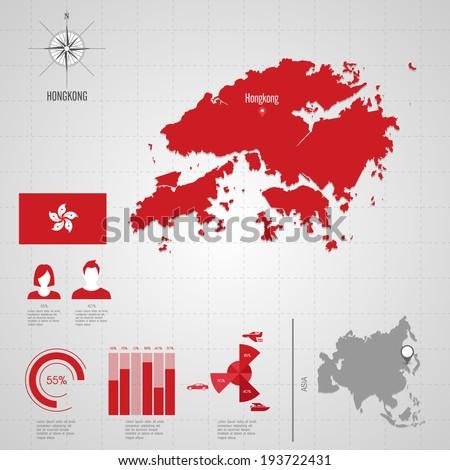 Hong Kong Location On World Map.Republic Hongkong Flag Asia World Map Stock Vector Royalty Free