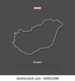 Republic of Hungary isolated map and official flag icons. vector Hungarian political map outline. Central Europe country geographic banner template. vector Hungary maps