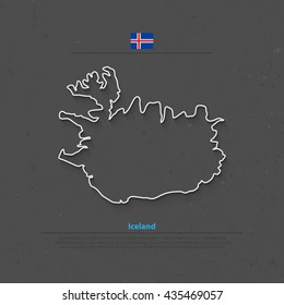 Republic of Iceland isolated map and official flag icons. vector Iceland political map thin line icon. Nordic Island Country geographic banner template. travel concept map over paper texture