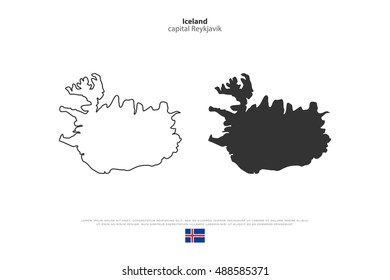 Republic of Iceland isolated map and official flag icons. vector Iceland political maps icon. Nordic Island Country geographic banner template