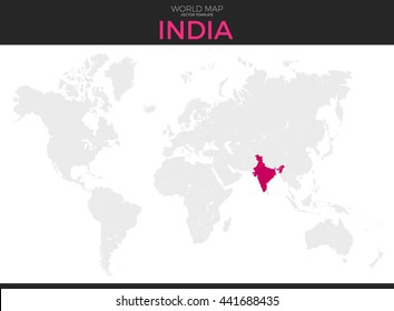 World map india images stock photos vectors shutterstock republic of india location modern detailed vector map all world countries without names vector gumiabroncs Image collections