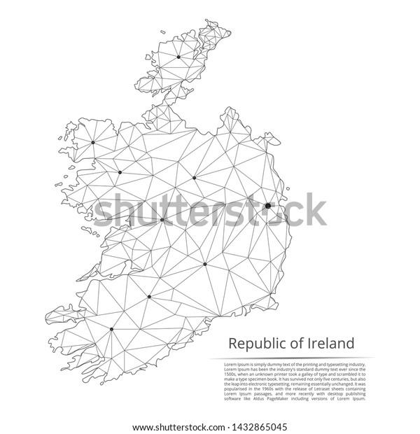 Republic Ireland Communication Network Map Vector Stock ... on