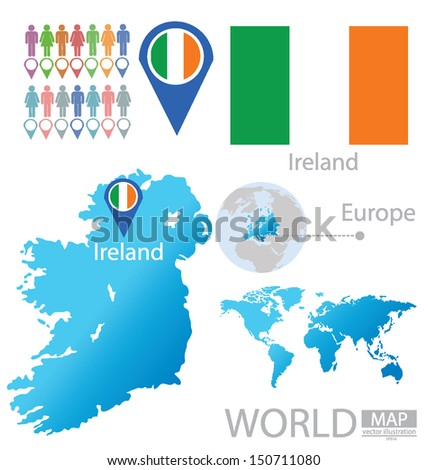 Republic Ireland Flag World Map Vector Stock Vector (Royalty Free ...