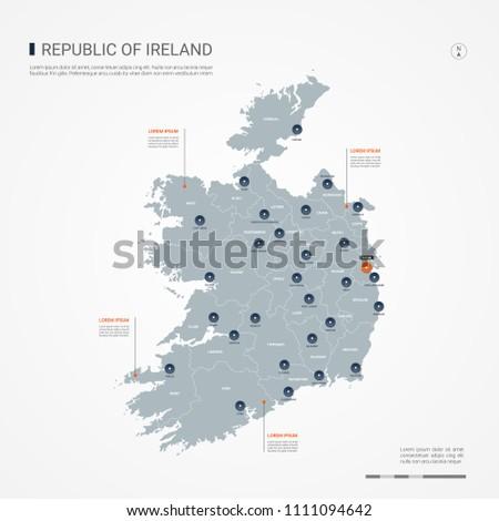Ireland Map With Cities.Republic Ireland Map Borders Cities Capital Stock Vector Royalty