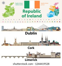 Republic of Ireland traditional countries and provinces map and Irish largest cities skylines. All elements separated in editable and detachable layers. Vector