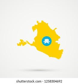 Republic of Kalmykia map in Republic of Kalmykia flag colors, editable vector.