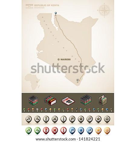 Republic Kenya Africa Maps Plus Extra Stock Vector (Royalty Free ...