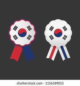 Republic of Korea cockade, South Korean ribbon flag, national emblem