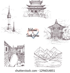 The Republic of Korea. Hand drawn city sketches.Seoul Drawings.Set of sightseeing.Gyeongbokgung Palace.Bukchon Hanok Village.illustration of Seoul tower  in korea.