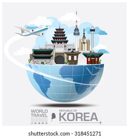 Republic Of Korea Landmark Global Travel And Journey Infographic Vector Design Template