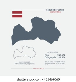 Republic of Latvia isolated maps and official flag icon. vector Latvian political map icons and general information. European country geographic banner template