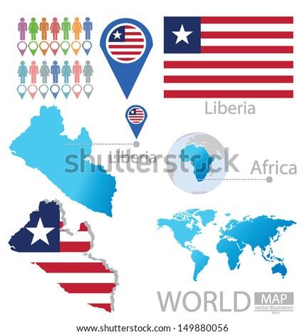 Republic Liberia Flag World Map Vector Stock Vector Royalty Free