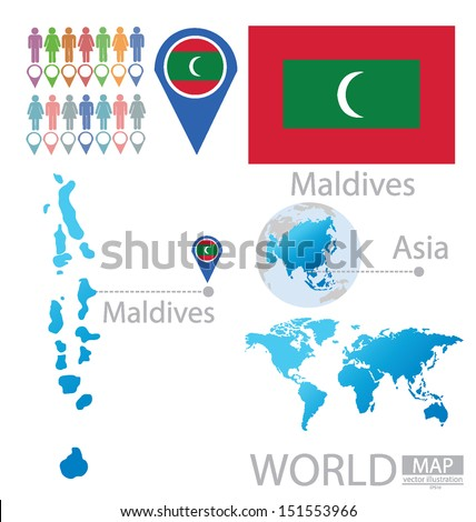Maldives On Map Of Asia.Republic Maldives Flag Asia World Map Stock Vector Royalty Free