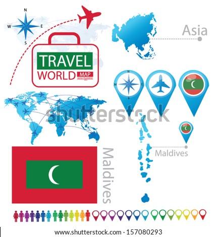 Maldives On A World Map.Republic Maldives Flag Asia World Map Stock Vector Royalty Free