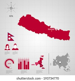 Nepal map images stock photos vectors shutterstock republic of nepal flag asia world map travel vector illustration gumiabroncs