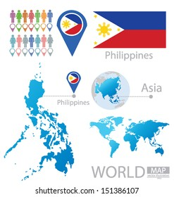 Republic of the Philippines. flag. Asia. World Map. vector Illustration.