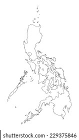 Republic of the Philippines vector map contour isolated on white background, high detailed illustration.  Country in Asia.