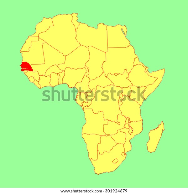 Map Of Africa Senegal.Republic Senegal Vector Map Isolated On Stock Vector Royalty Free