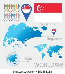 Republic of Singapore. flag. Asia. World Map. vector Illustration.