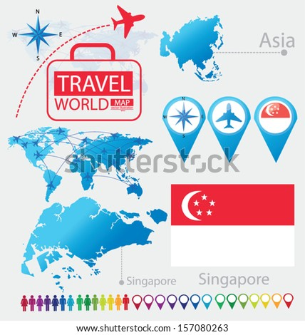 Republic Singapore Flag Asia World Map Stock Vector (Royalty Free ...
