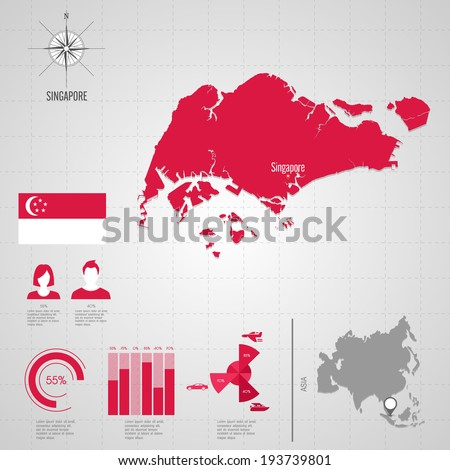 Republic Singapore Flag Asia World Map Stock Vector Royalty Free