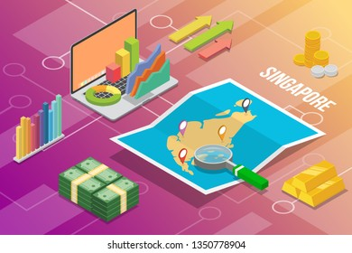 republic of singapore isometric business economy growth country with map and finance condition - vector