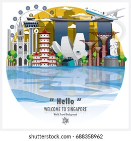 Republic Of Singapore Landmark Global Travel And Journey Background Vector Design Template