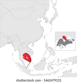 Republic of Singapore Location Map on map Asia. 3d Republic of Singapore flag map marker location pin. High quality map of Singapore. Southeast Asia. Vector illustration EPS10.