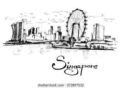 Republic of Singapore. Vector hand drawn illustration.