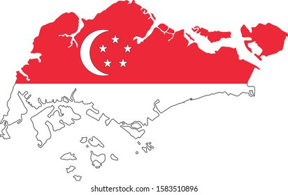 Republic of Singapore Vector map. Isolated, white background