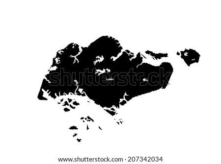 Republic Singapore Vector Map Silhouette Isolated Stock Vector ...