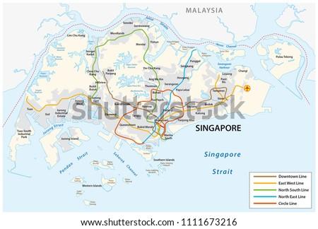 Republic Singapore Vector Metro Map Stock Vector Royalty Free