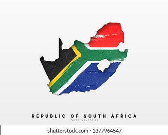 Republic of South Africa detailed map with flag of country. Painted in watercolor paint colors in the national flag.