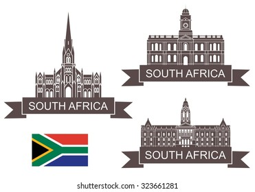 Republic of South Africa logo. Isolated Republic of South Africa building on white background