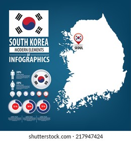 Republic of the South Korea. flag. Travel vector Illustration. infographic world travel