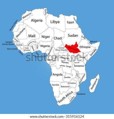 Republic South Sudan Vector Map Silhouette Stock Vector (Royalty
