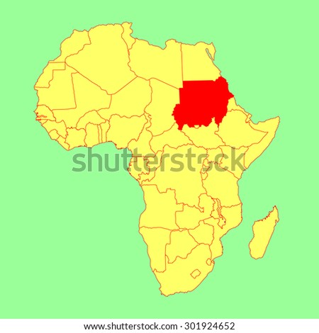 Republic Sudan Vector Map Isolated On Stock Vector (Royalty Free ...