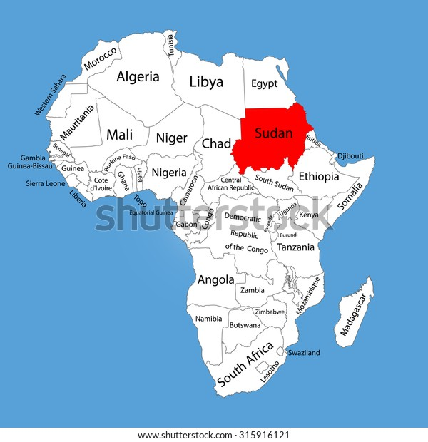 Republic Sudan Vector Map Silhouette Isolated Stock Vector (Royalty ...